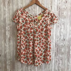 Anthropologie Maeve watermelon blouse
